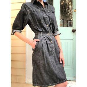 Vintage charcoal denim dress